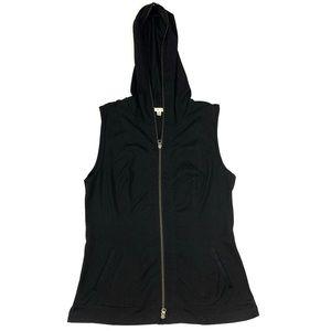 CAbi Black Zip Up Lightweight Hooded Vest